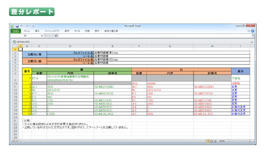 Excel のセル内の修正、行・列の追加、移動を比較 [新旧文書 Excel ...