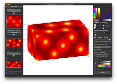 3D 静電ポテンシャルは様々な方法であらわすことができます。上記のインターフェースを使えば、異なる方向でボリュームをスライスできます