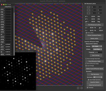 決定された格子上の回折斑点をもとに抽出されたピーク情報