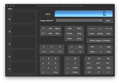 ビルトインされた Reverse Polish Notation Calculator (逆ポーランド記法計算機)。実数と複素数はもちろん、実画像と複素画像を計算できます
